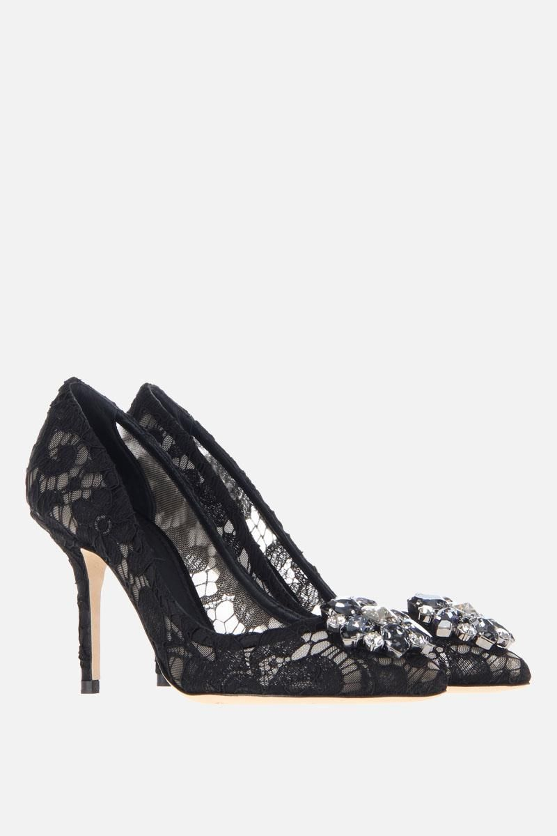 DOLCE & GABBANA: Bellucci pumps in Taormina lace with crystals Color Black_2