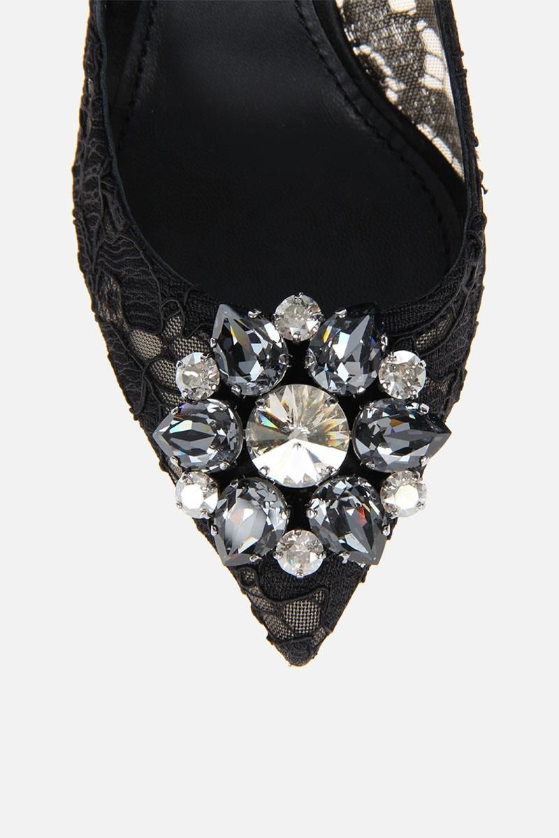 DOLCE & GABBANA: Bellucci pumps in Taormina lace with crystals Color Black_4