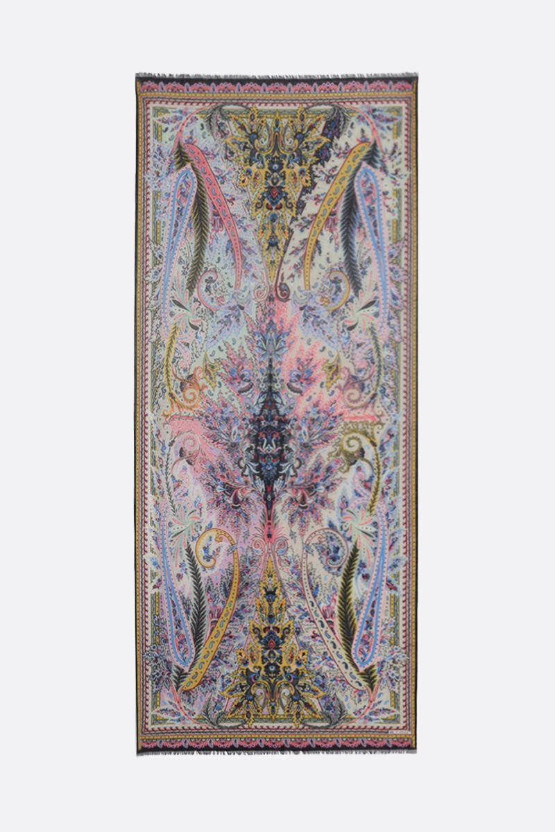 ETRO: Paisley-motif wool silk blend scarf Color Multicolor_2
