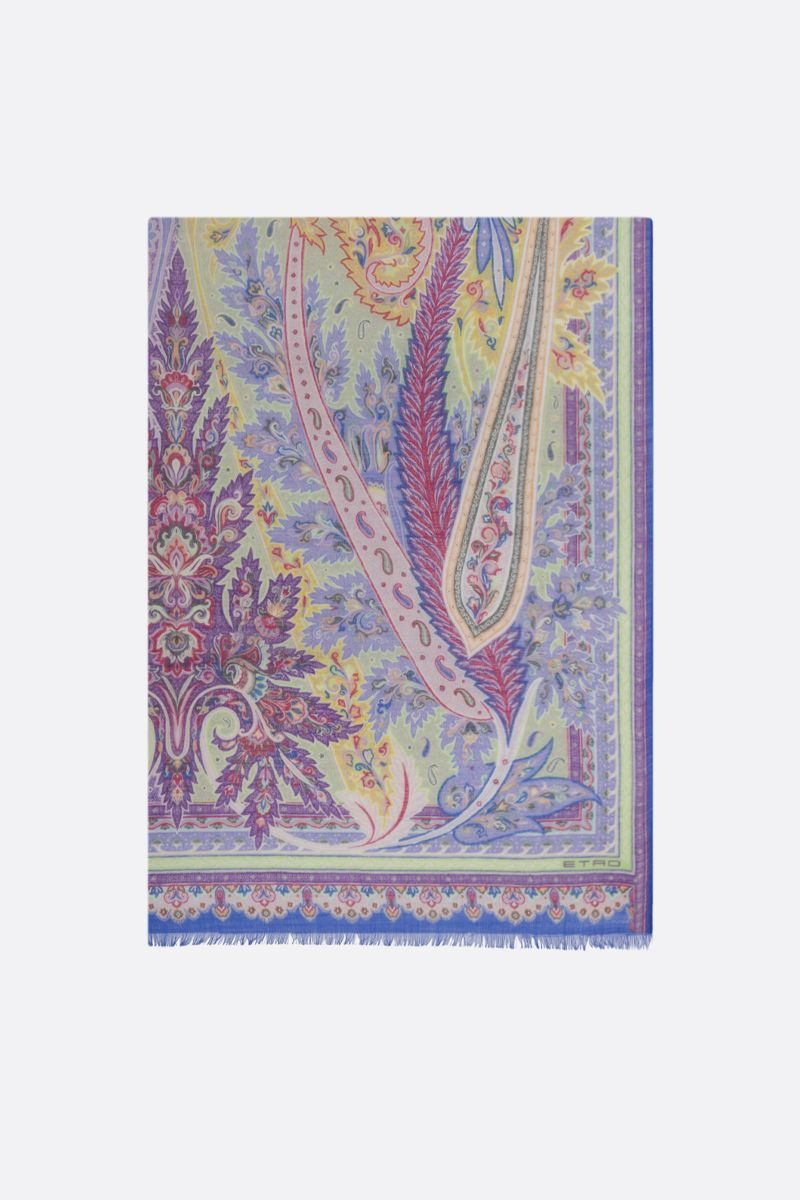 ETRO: Paisley-motif wool silk blend scarf Color Multicolor_1