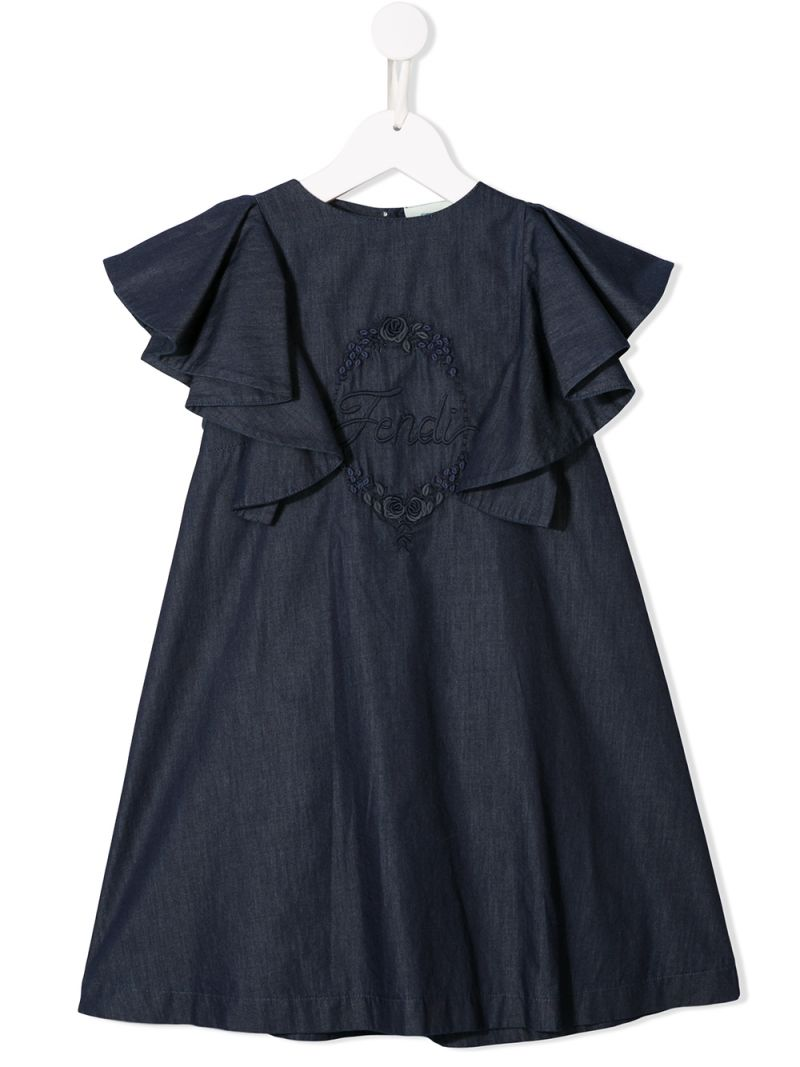 FENDI KIDS: logo embroidered cotton midi dress Color Blue_1