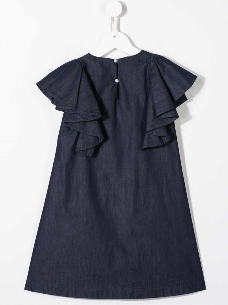 FENDI KIDS: logo embroidered cotton midi dress Color Blue_2