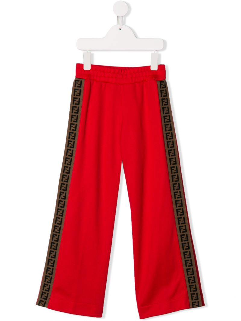 FENDI KIDS: jersey joggers with FF tapes Color Red_1