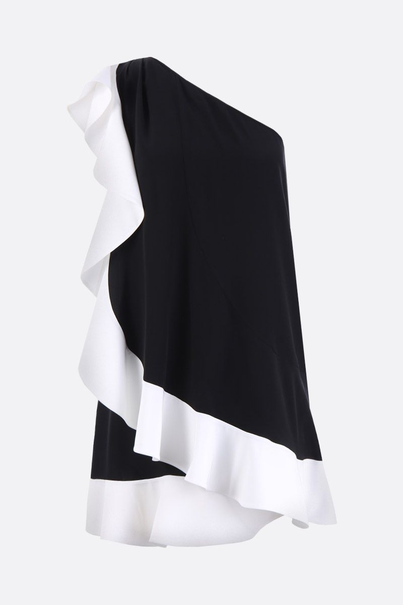 GIVENCHY: crepe de chine one-shoulder dress with ruffles Color Black_1