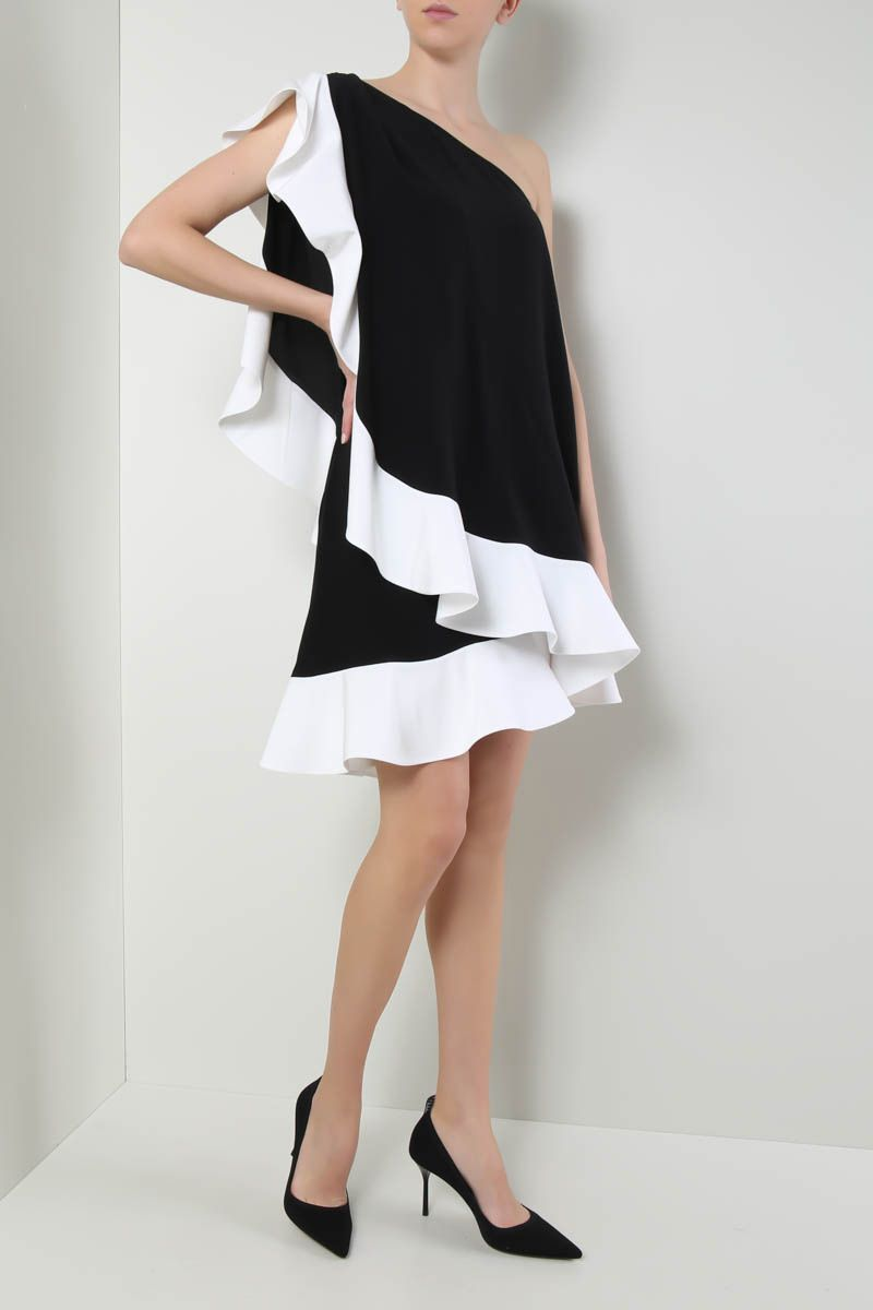 GIVENCHY: crepe de chine one-shoulder dress with ruffles Color Black_2
