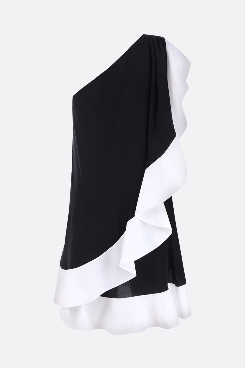 GIVENCHY: crepe de chine one-shoulder dress with ruffles Color Black_3