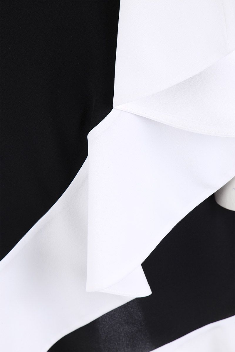 GIVENCHY: crepe de chine one-shoulder dress with ruffles Color Black_4