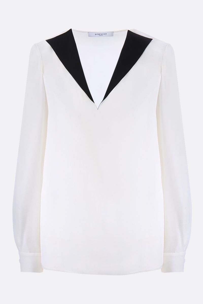 GIVENCHY: crepe de chine blouse with contrasting lapels Color White_1