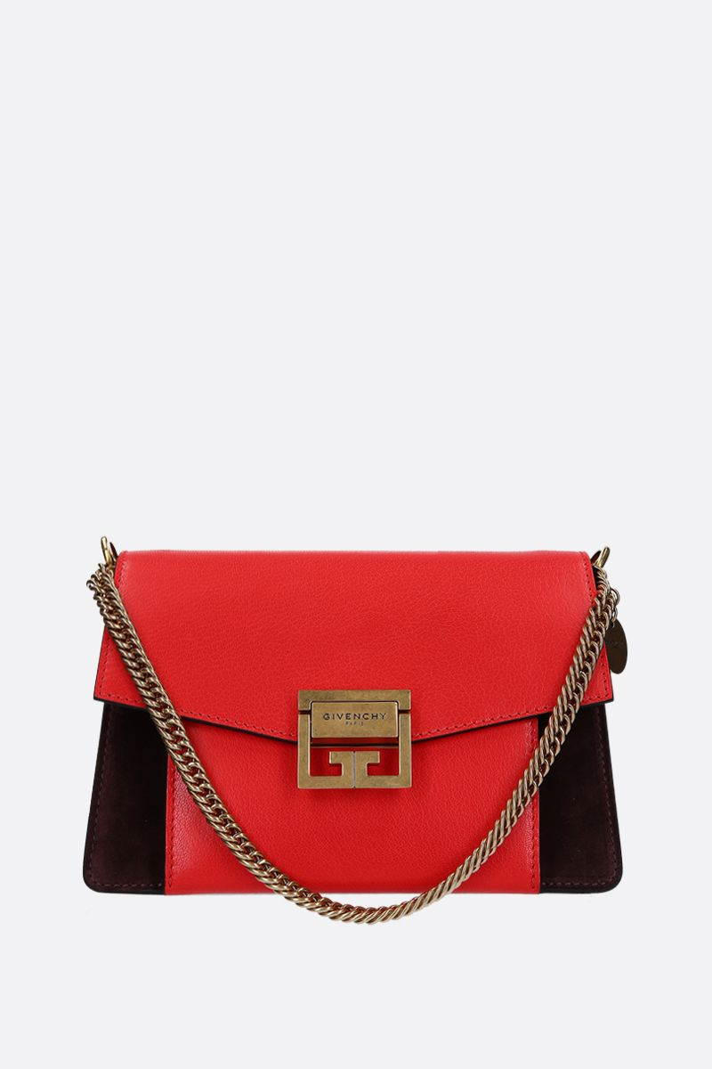 GIVENCHY: small GV3 handbag bag in leather and suede Color Brown_1