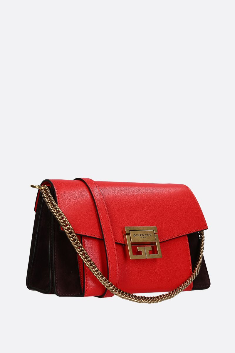 GIVENCHY: small GV3 handbag bag in leather and suede Color Brown_2