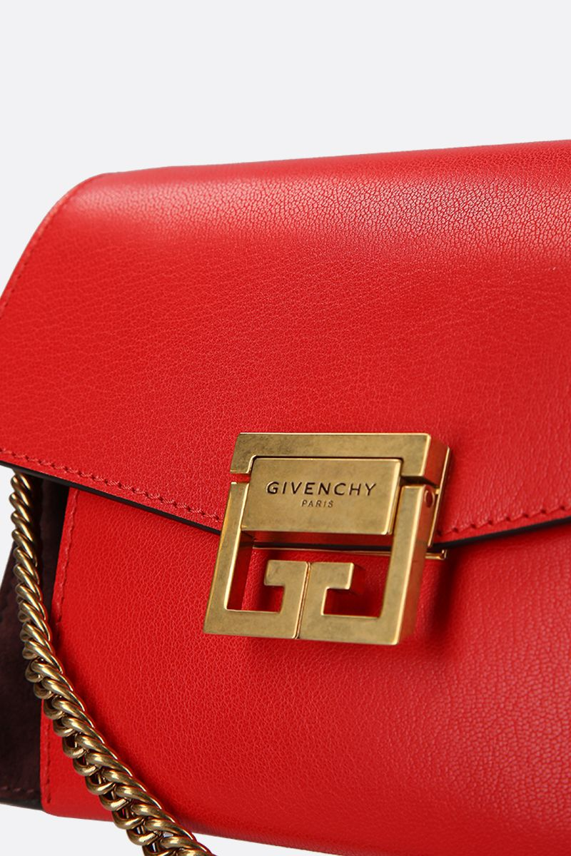 GIVENCHY: small GV3 handbag bag in leather and suede Color Brown_4