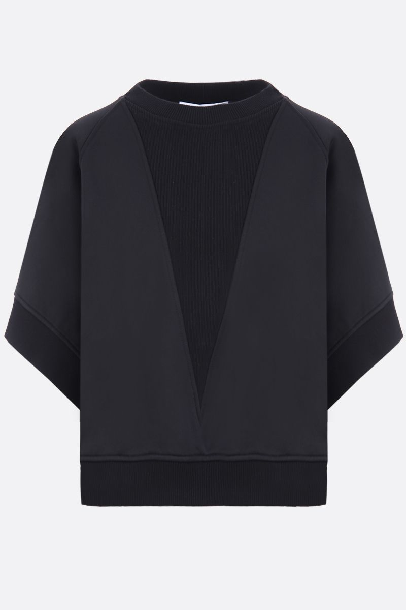 GIVENCHY: logo embroidered jersey oversize sweatshirt Color Black_1