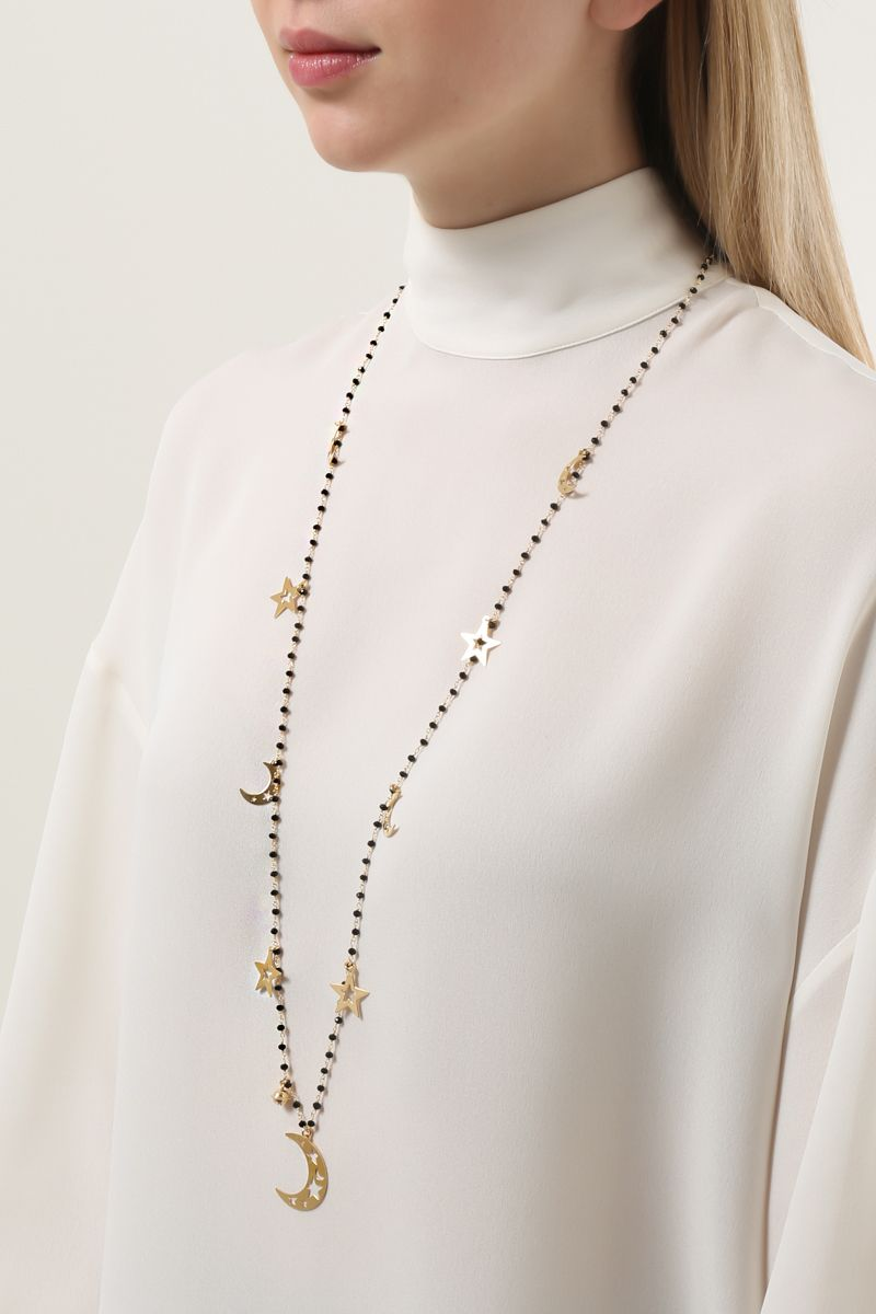 GLAM STYLE: yellow gold pleated long chain necklace Color Black_2