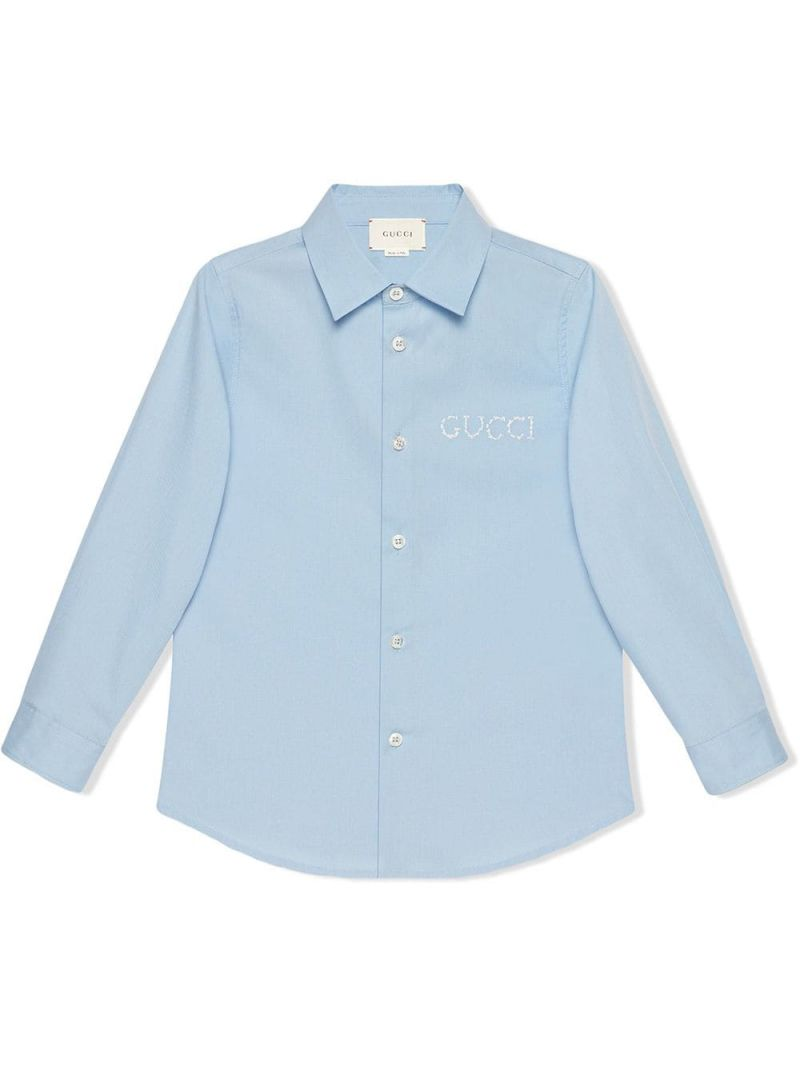 GUCCI CHILDREN: logo embroidered poplin shirt_1
