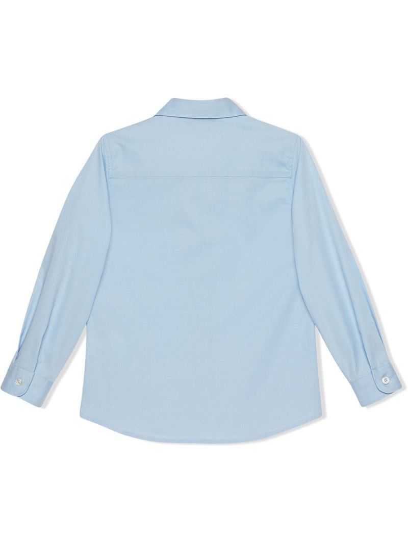 GUCCI CHILDREN: logo embroidered poplin shirt_2