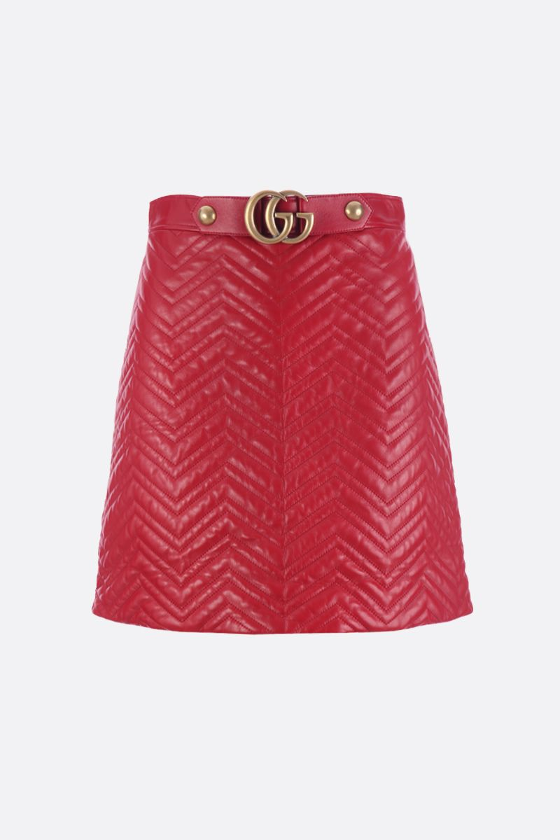 GUCCI: quilted nappa skirt with GG detail Color Red_1