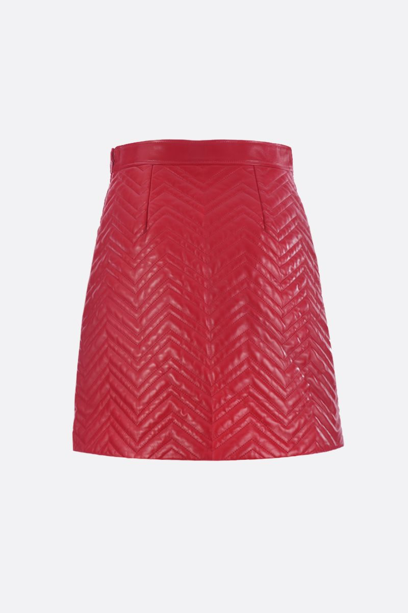 GUCCI: quilted nappa skirt with GG detail Color Red_2