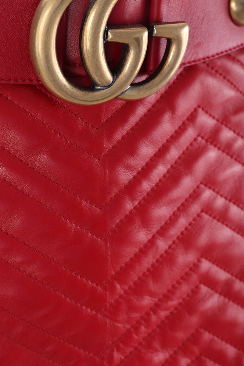 GUCCI: quilted nappa skirt with GG detail Color Red_3