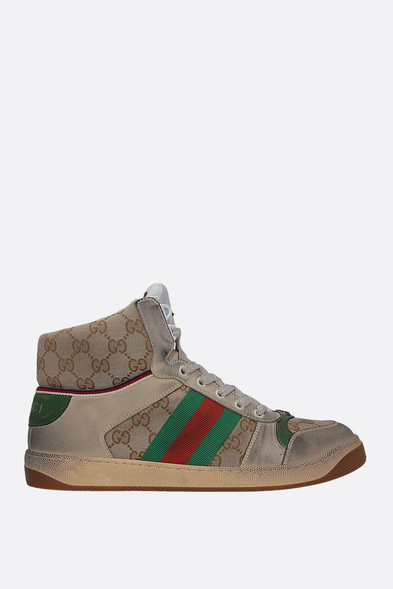 GUCCI: Skreener sneakers in GG Supreme canvas and leather Color White_1