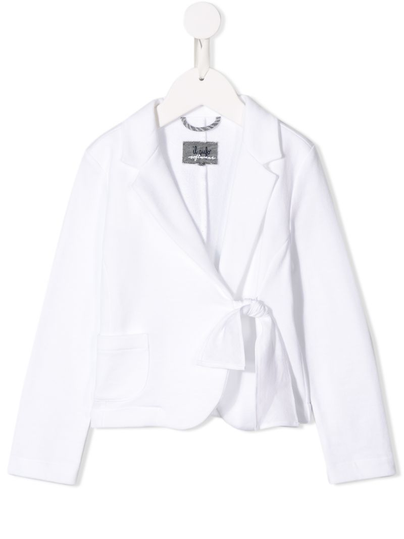 IL GUFO: jersey jacket with bow detail Color White_1