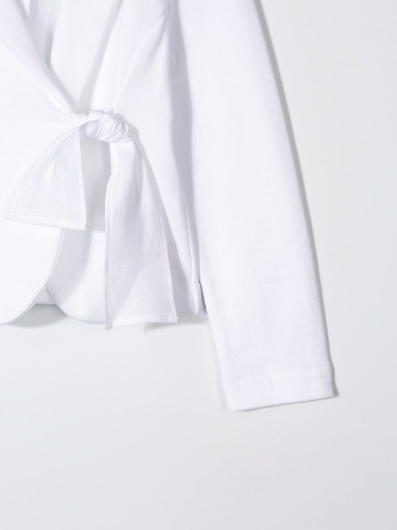 IL GUFO: jersey jacket with bow detail Color White_3