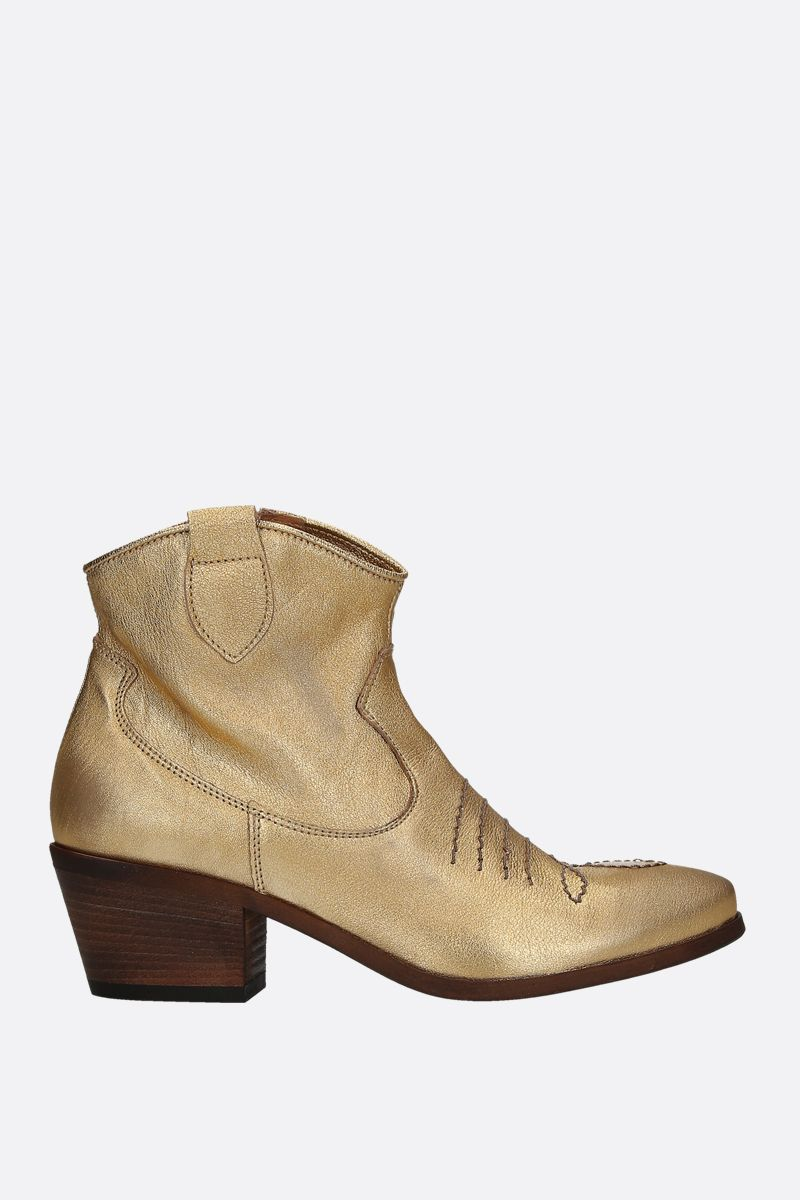 JE T'AIME: laminated leather western boots Color Gold_1