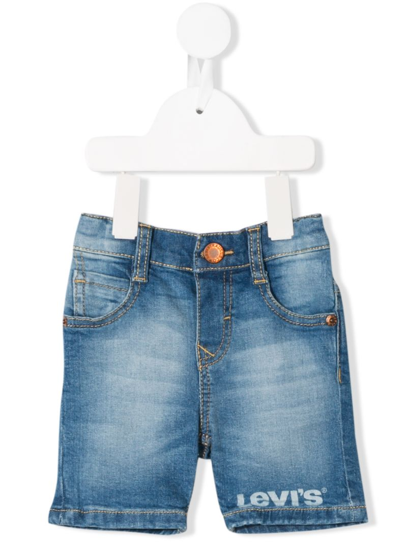 LEVI'S KIDS: logo print denim shorts Color Blue_1