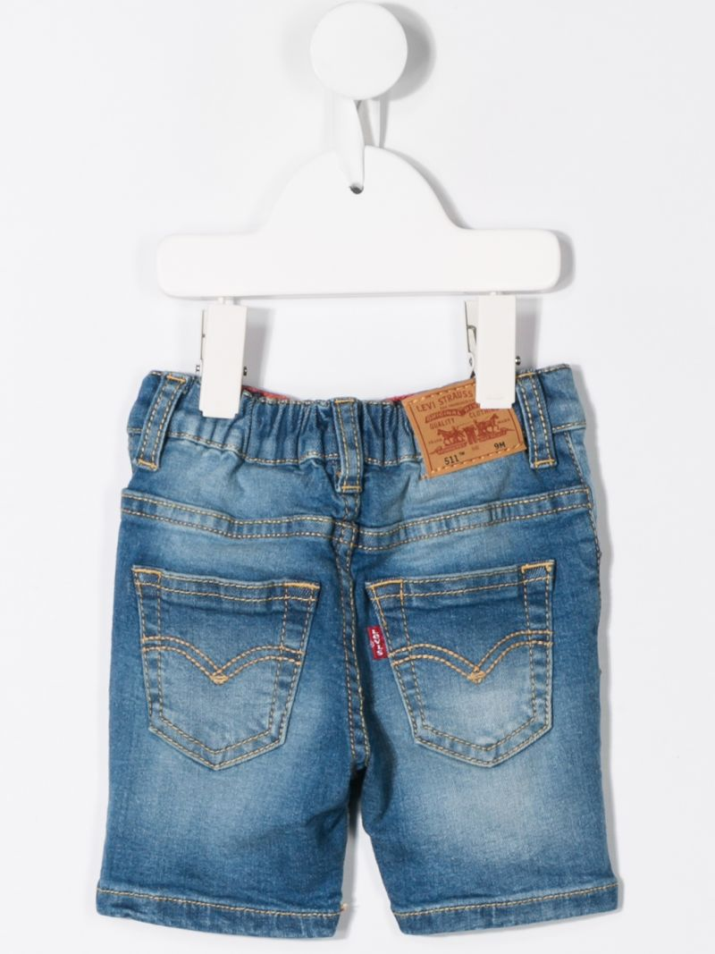 LEVI'S KIDS: logo print denim shorts Color Blue_2