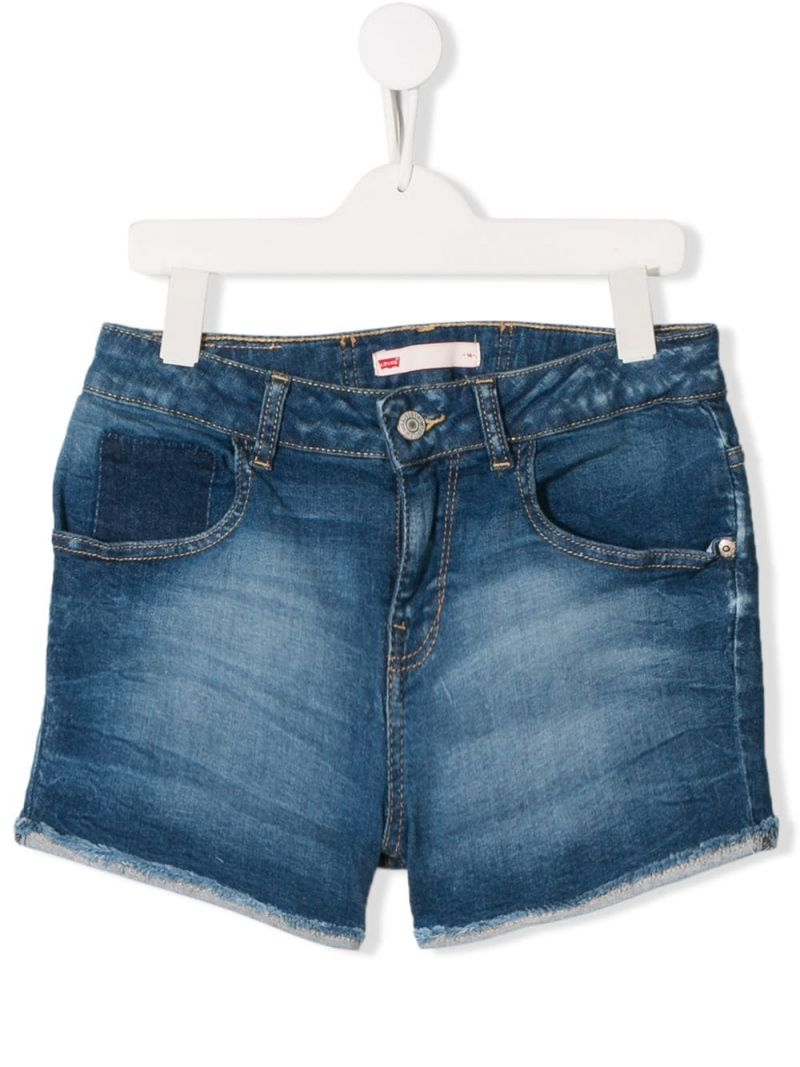 LEVI'S KIDS: pantalone corto Moldu in denim stretch Colore Blu_1