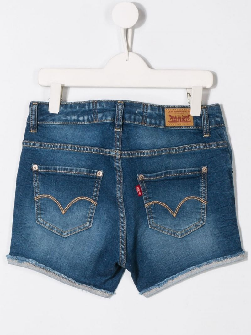LEVI'S KIDS: pantalone corto Moldu in denim stretch Colore Blu_2