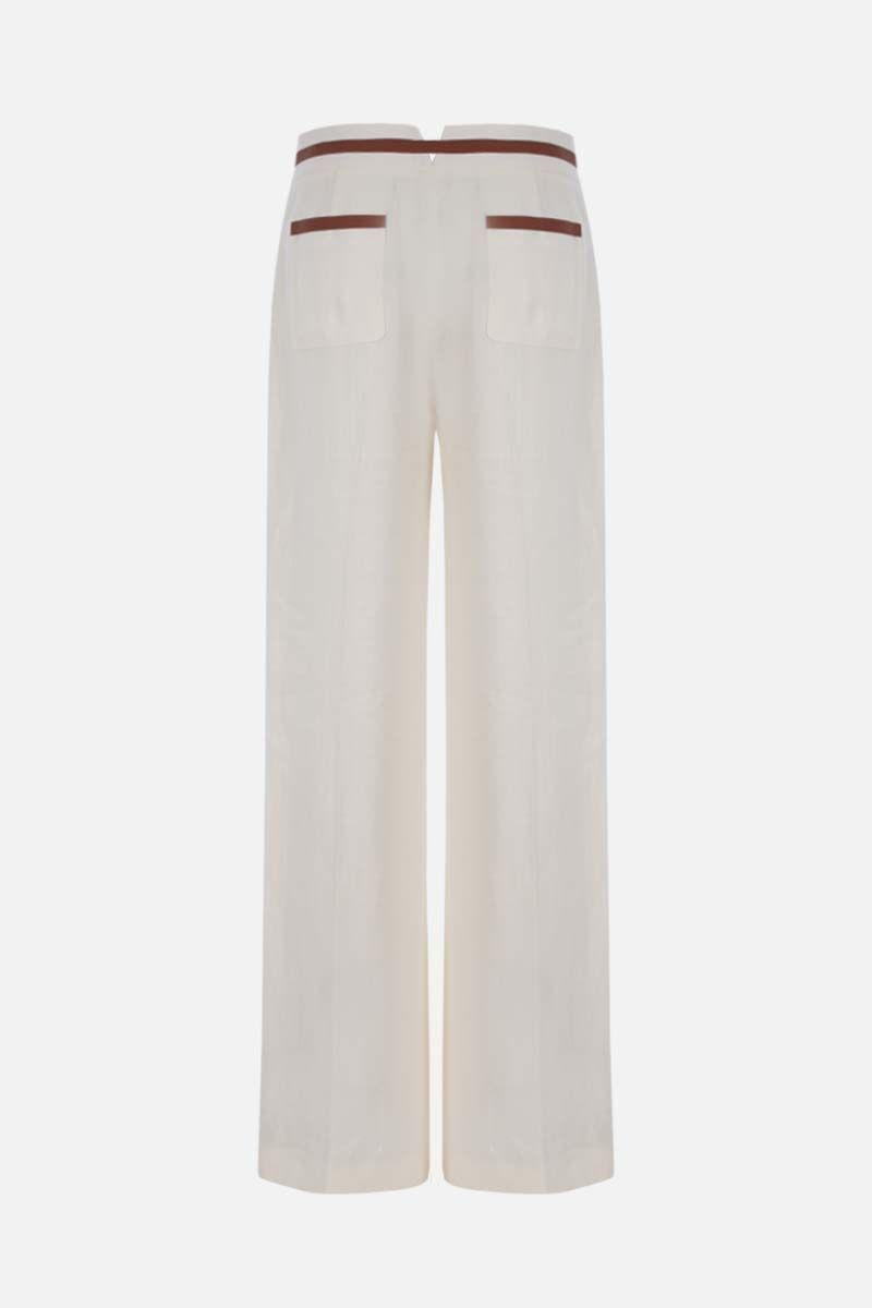 LORO PIANA: Carson Antigua wide-leg linen pants Color White_2