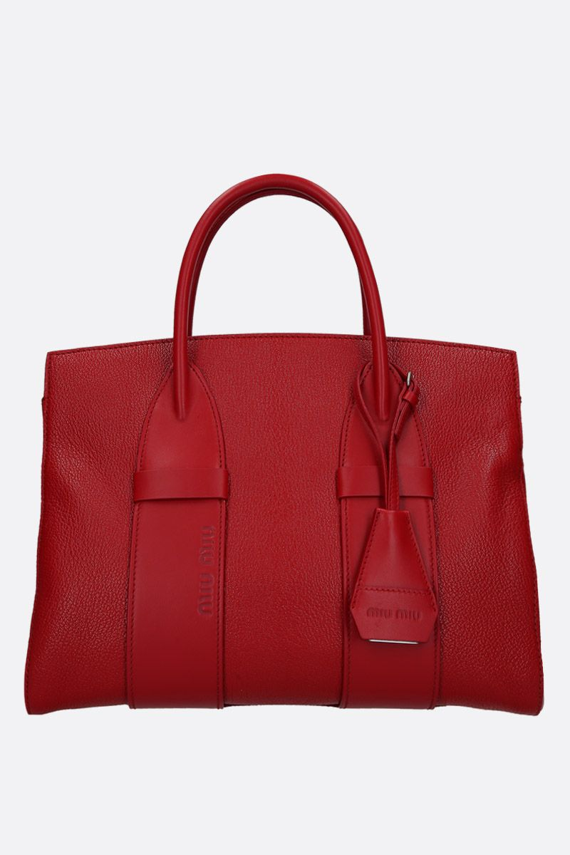 MIU MIU: Madras leather medium handbag Color Red_1