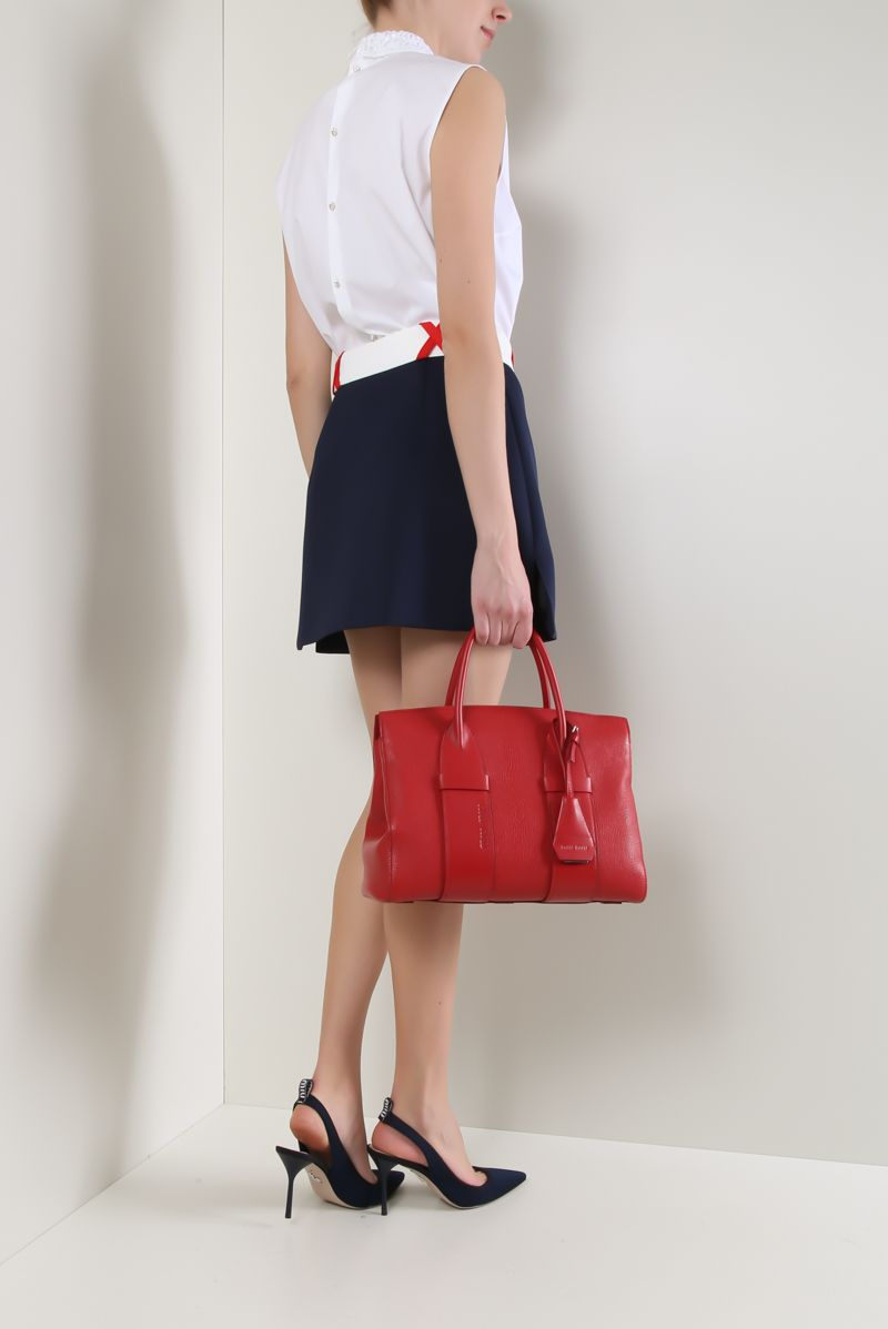 MIU MIU: Madras leather medium handbag Color Red_2
