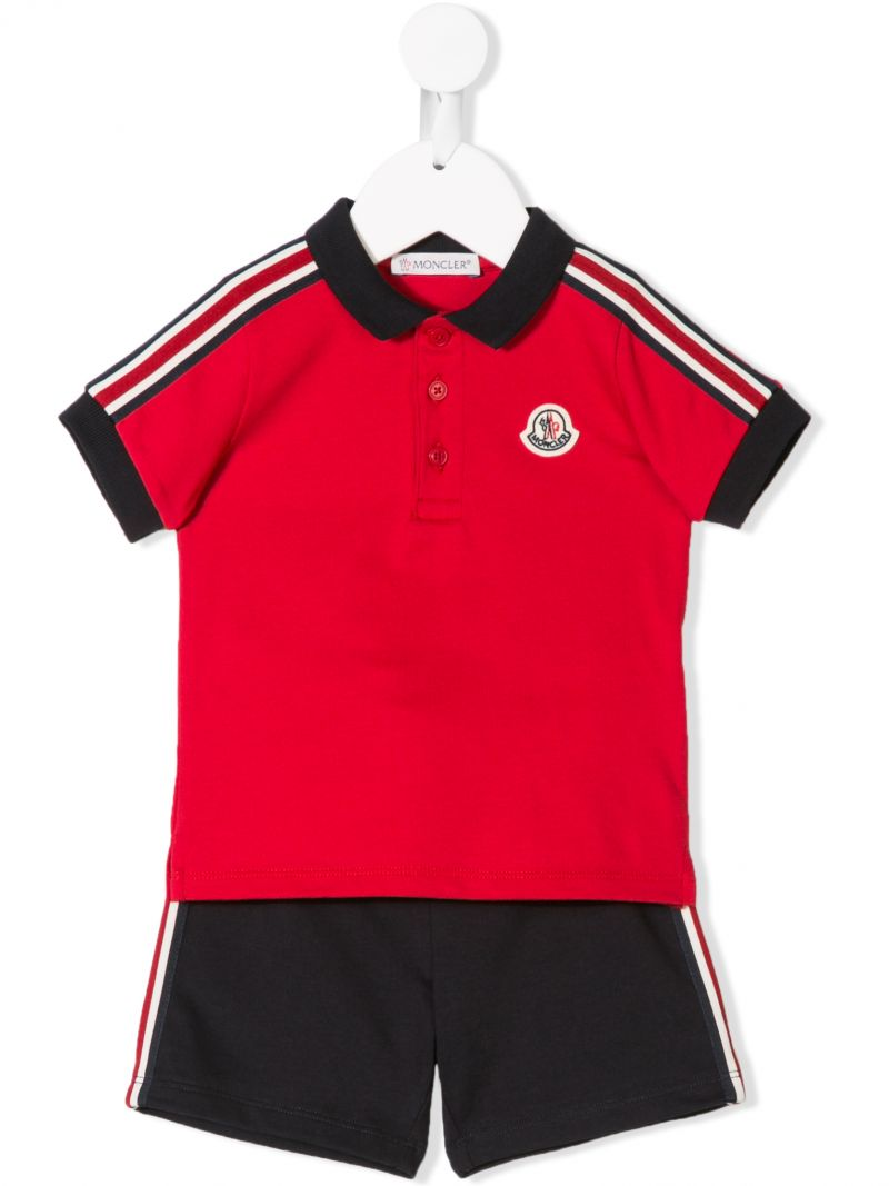 MONCLER KIDS: completo polo e shorts in jersey Colore Rosso_1