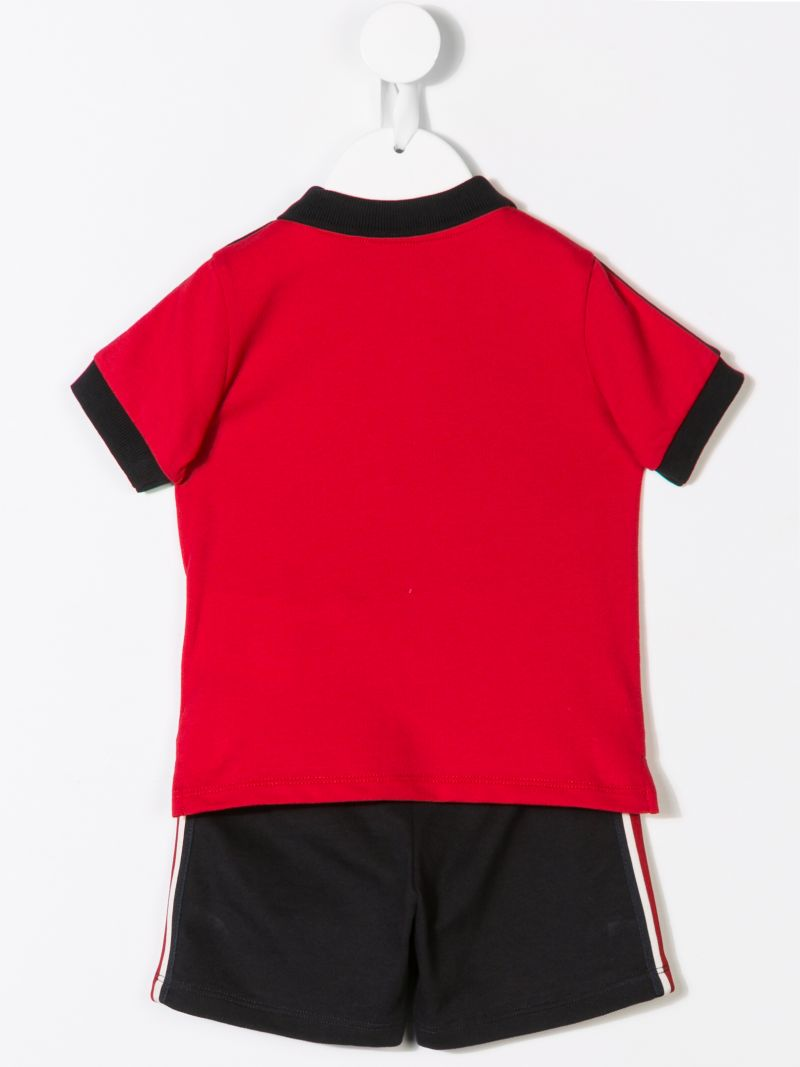 MONCLER KIDS: completo polo e shorts in jersey Colore Rosso_2