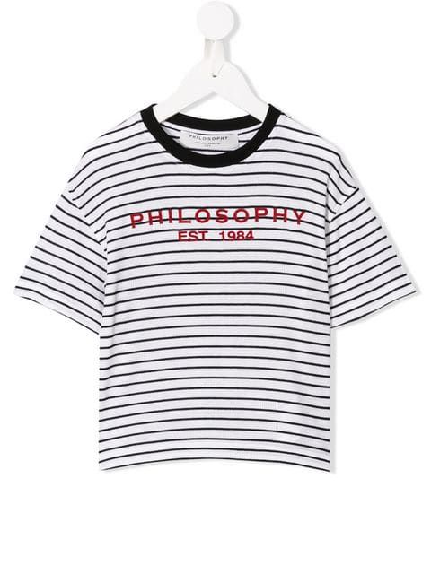 PHILOSOPHY DI LORENZO SERAFINI KIDS: logo print ribbed cotton t-shirt Color Multicolor_1
