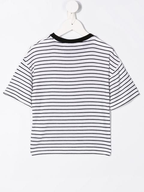 PHILOSOPHY DI LORENZO SERAFINI KIDS: logo print ribbed cotton t-shirt Color Multicolor_2