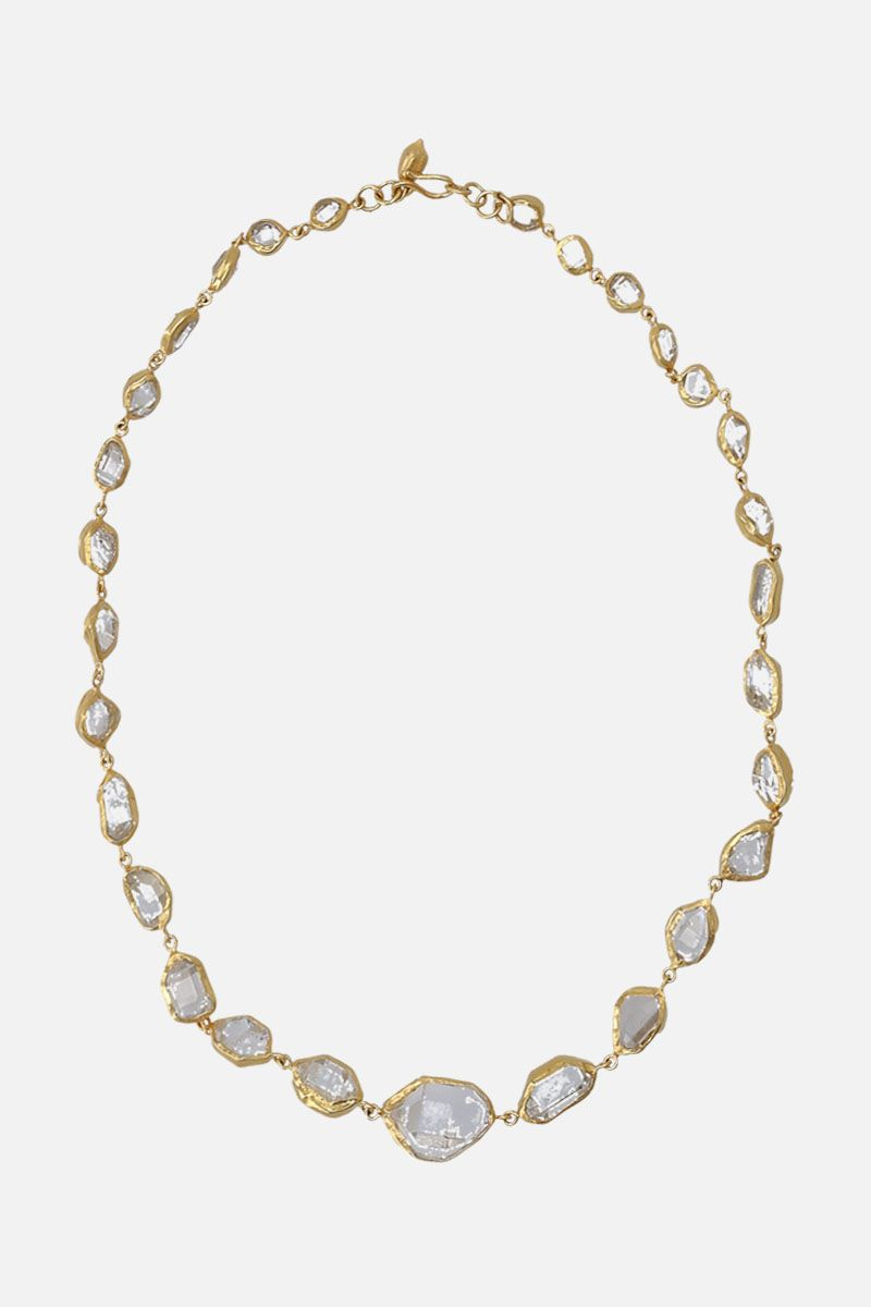 PIPPA SMALL: yellow gold and Herkimer diamonds necklace Color Gold_1