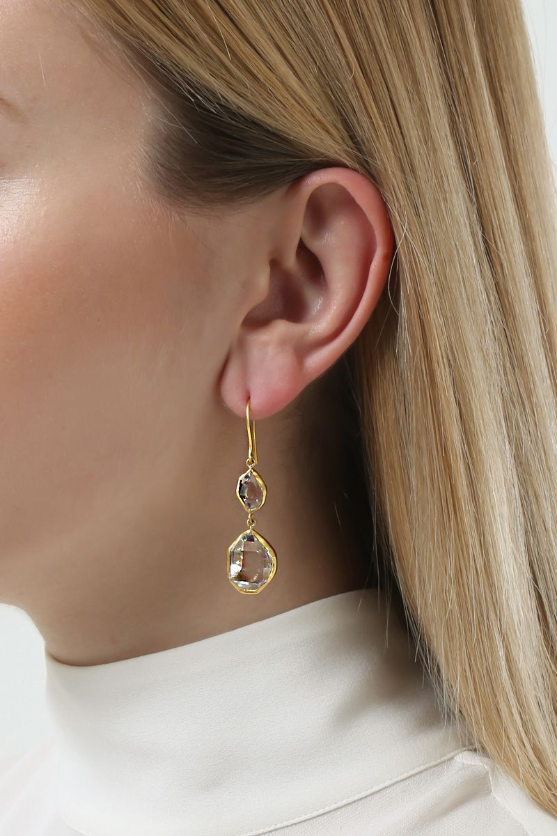 PIPPA SMALL: yellow gold and Herkimer diamonds earrings Color Gold_2