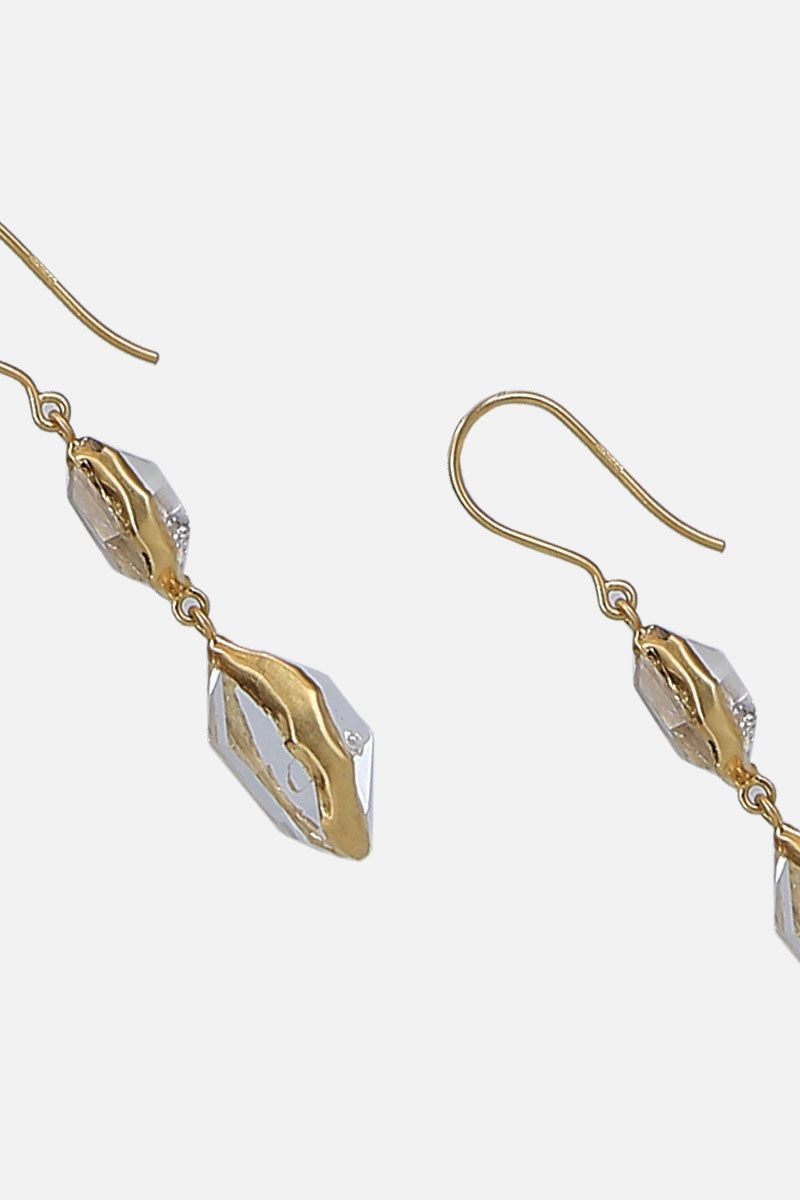 PIPPA SMALL: yellow gold and Herkimer diamonds earrings Color Gold_3