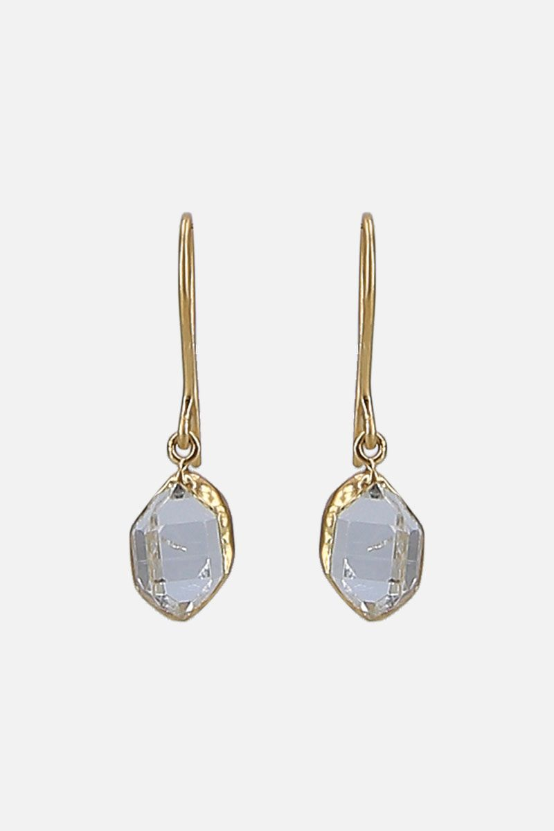 PIPPA SMALL: yellow gold and Herkimer diamonds earrings Color Gold_1
