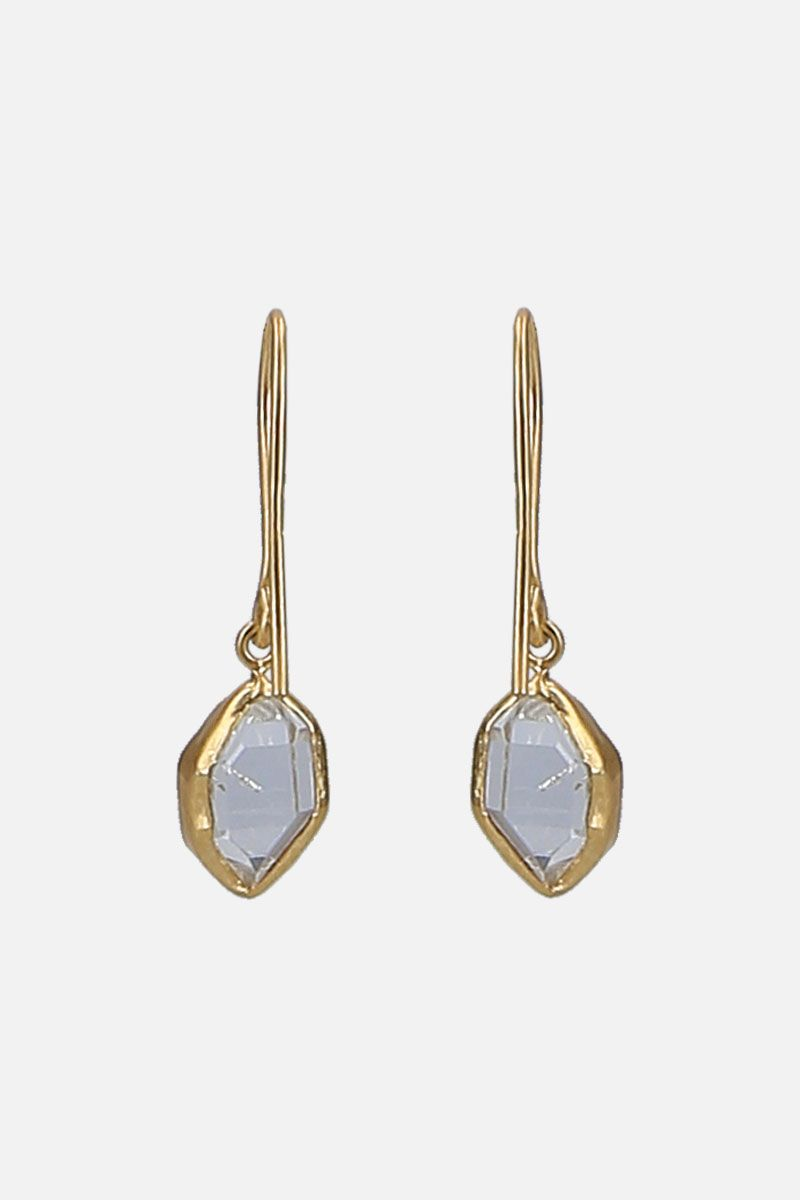 PIPPA SMALL: yellow gold and Herkimer diamonds earrings Color Gold_4