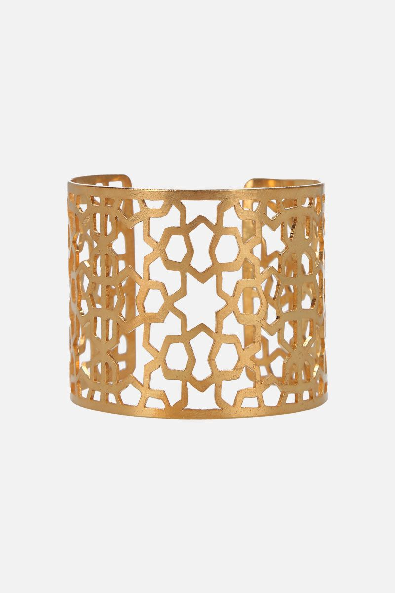 PIPPA SMALL: Firbaa cuff bracelet in gold vermeil Color Gold_1