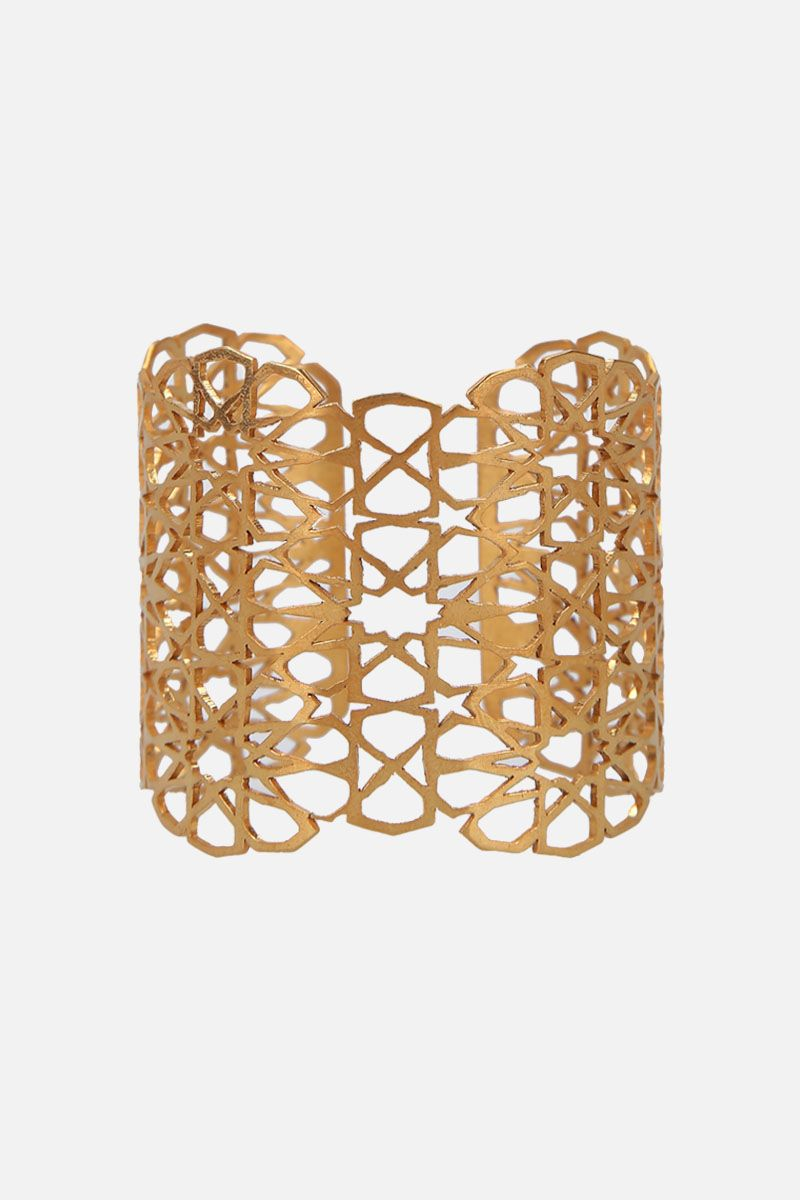 PIPPA SMALL: Floraans cuff bracelet in gold vermeil Color Gold_1