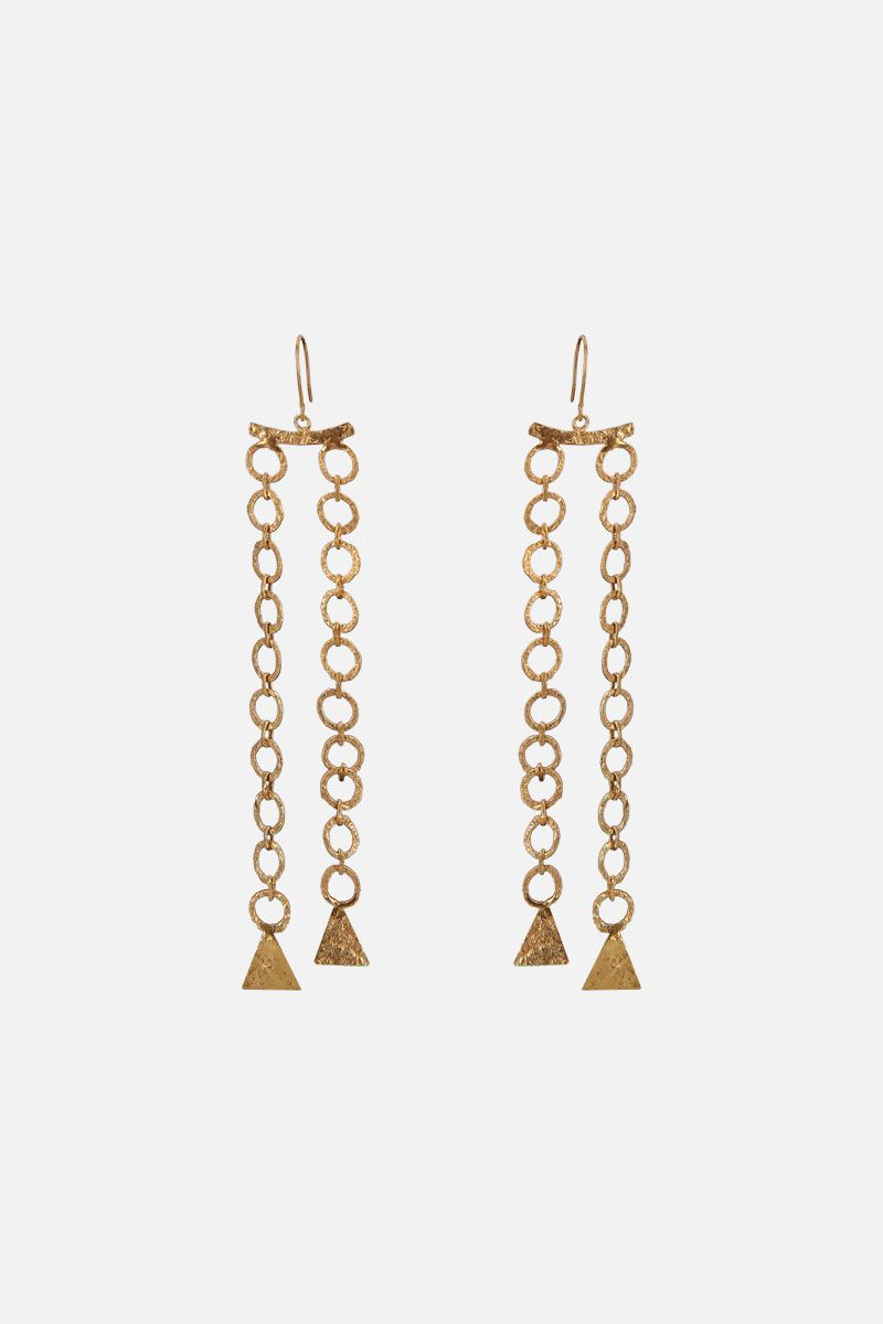 PIPPA SMALL: Zeeb long earrings in gold vermeil Color Gold_1