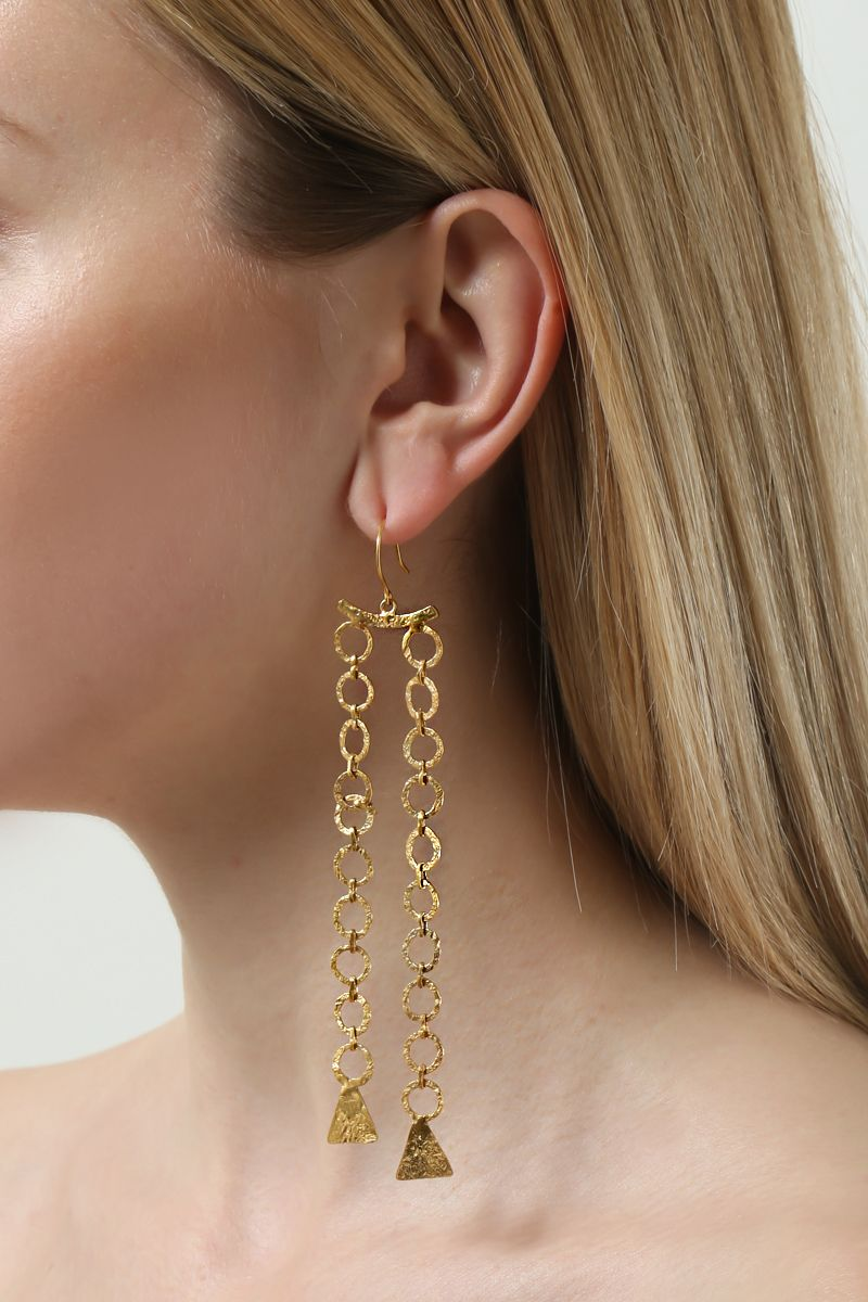PIPPA SMALL: Zeeb long earrings in gold vermeil Color Gold_2