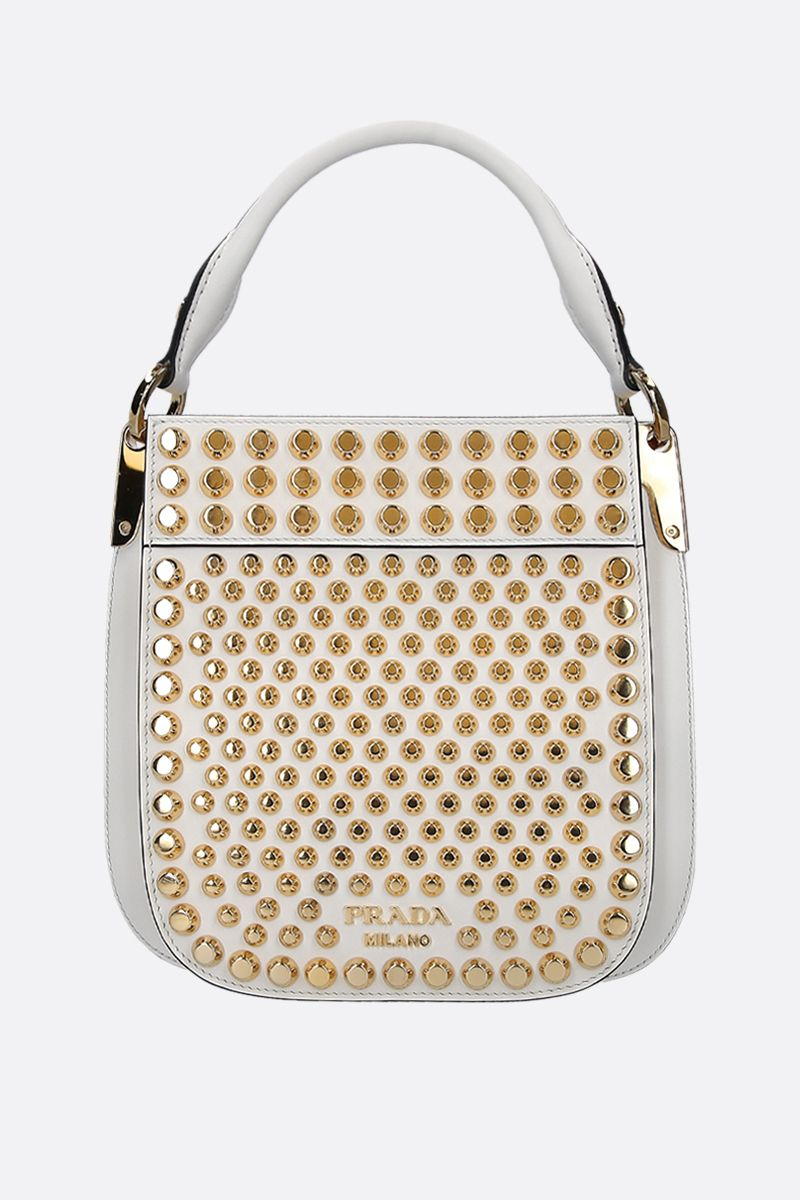 PRADA: small Prada Margit bag in studded City leather Color White_1