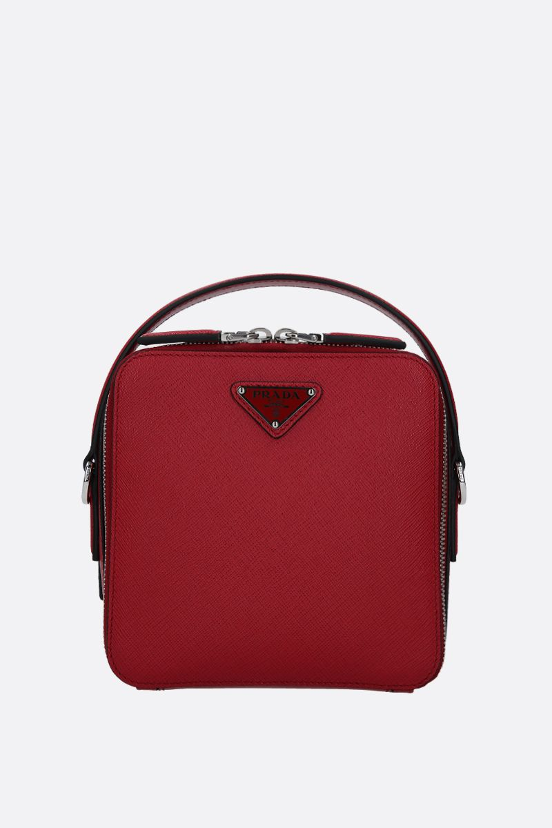 PRADA: Prada Brique crossbody bag in Saffiano leather Color Red_1
