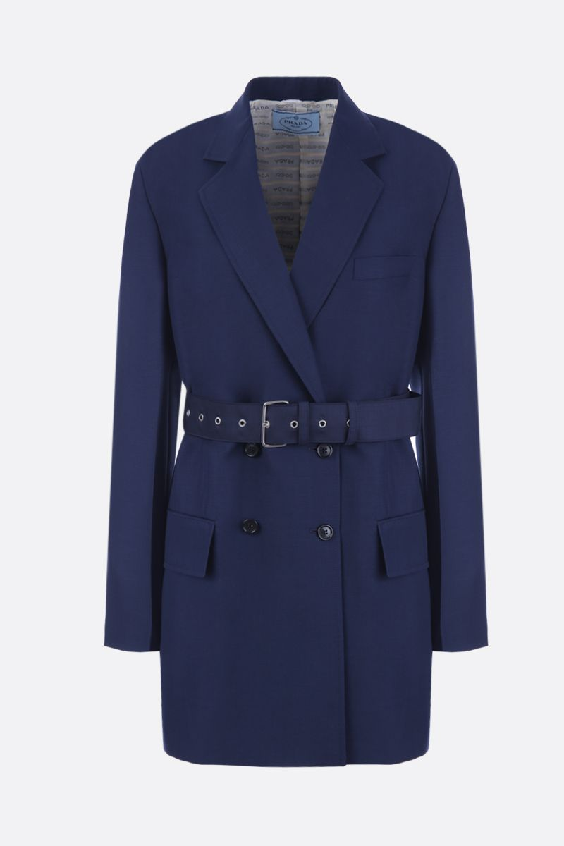 PRADA: mohair and wool double-breasted jacket Color Blue_1