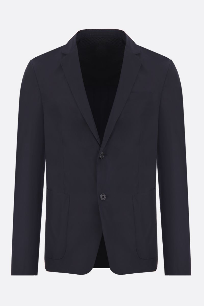 PRADA: technical fabric single-breasted jacket Color Blue_1
